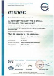 Chứng Nhận ISO-14001 Công ty Hóa Chất Vũ Hoàng