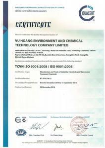 Chứng Nhận ISO-9001 Công ty Hóa Chất Vũ Hoàng